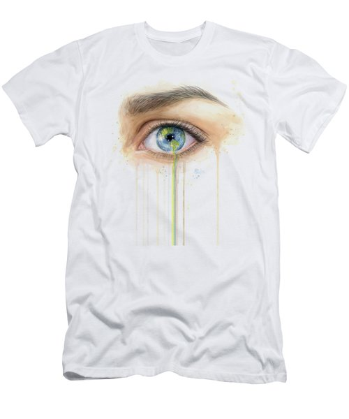 Earth In The Eye Crying Planet Men's T-Shirt (Athletic Fit)