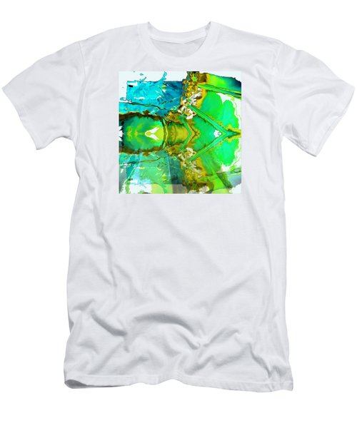 Men's T-Shirt (Slim Fit) featuring the painting Earth Water Sky Abstract by Carolyn Repka