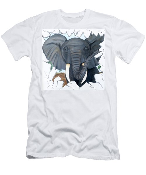 Men's T-Shirt (Slim Fit) featuring the painting Eavesdropping Elephant by Teresa Wing
