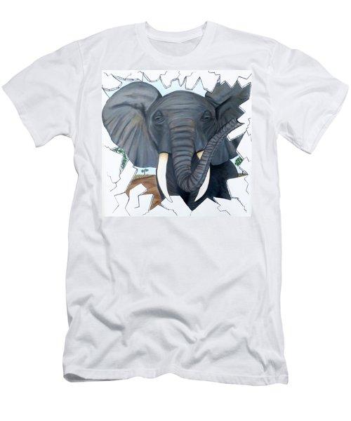 Eavesdropping Elephant Men's T-Shirt (Athletic Fit)