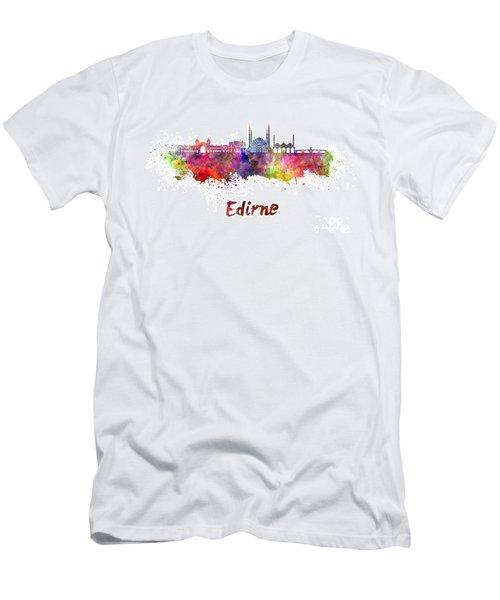 Edirne Skyline In Watercolor Men's T-Shirt (Slim Fit) by Pablo Romero
