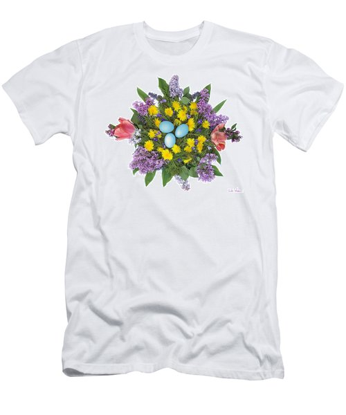 Eggs In Dandelions, Lilacs, Violets And Tulips Men's T-Shirt (Slim Fit) by Lise Winne