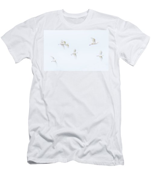 Egrets White On White Color Men's T-Shirt (Athletic Fit)