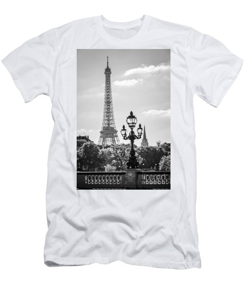Eiffel Tower And Bridge Alexandre IIi Men's T-Shirt (Athletic Fit)