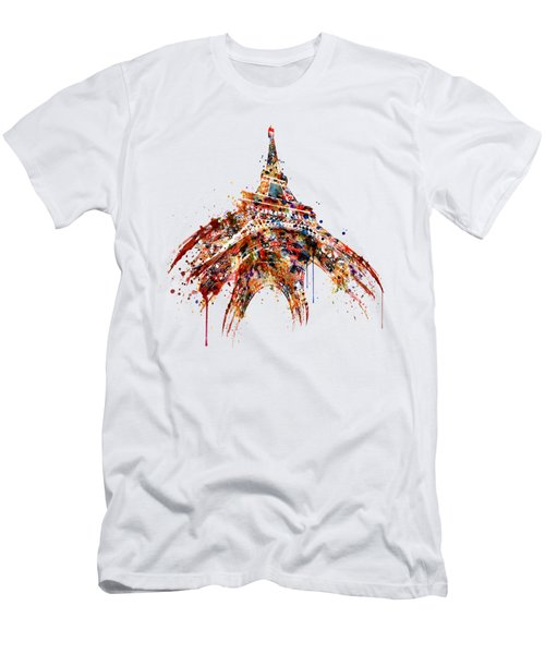Eiffel Tower Watercolor Men's T-Shirt (Slim Fit) by Marian Voicu