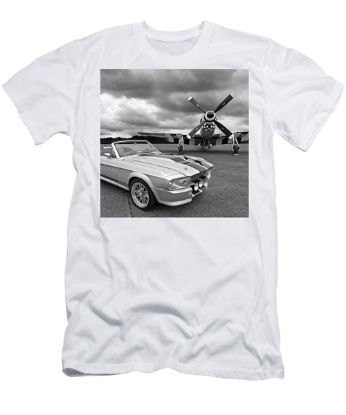 Eleanor Mustang With P51 Black And White Men's T-Shirt (Athletic Fit)