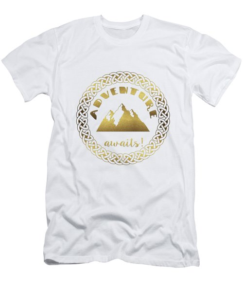 Elegant Gold Foil Adventure Awaits Typography Celtic Knot Men's T-Shirt (Athletic Fit)