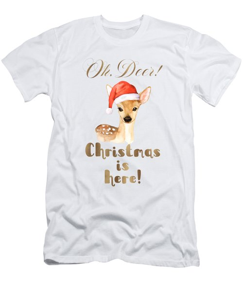 Elegant Gold Oh Deer Christmas Is Here Deer Santa Men's T-Shirt (Athletic Fit)
