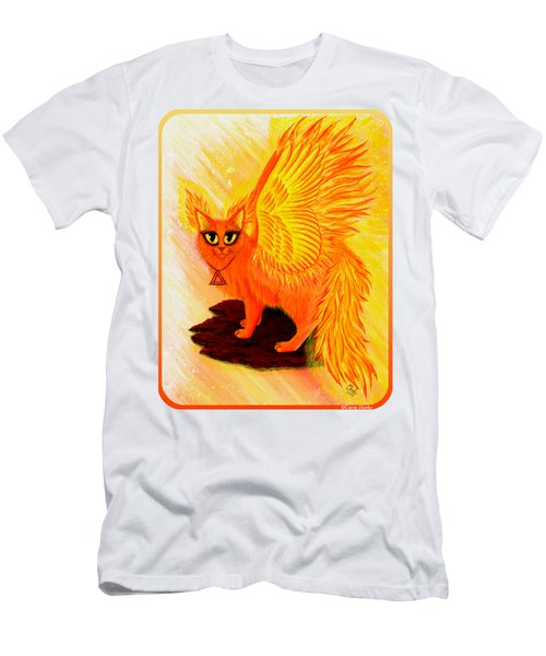 Men's T-Shirt (Slim Fit) featuring the painting Elemental Fire Fairy Cat by Carrie Hawks