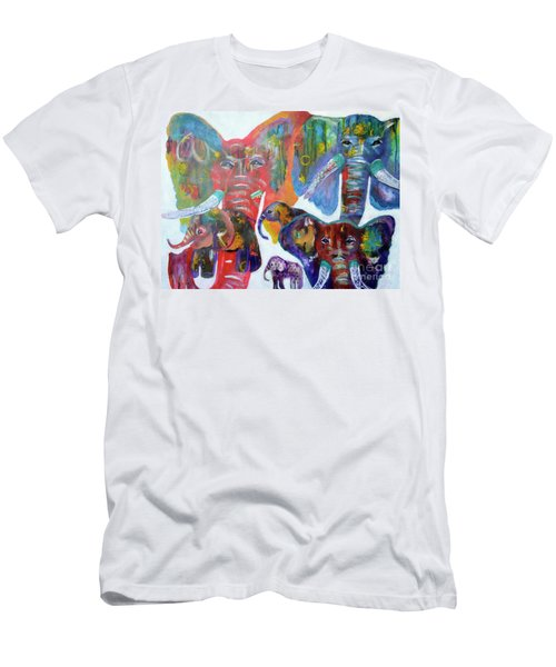 Men's T-Shirt (Athletic Fit) featuring the painting Elephant Family by Claire Bull