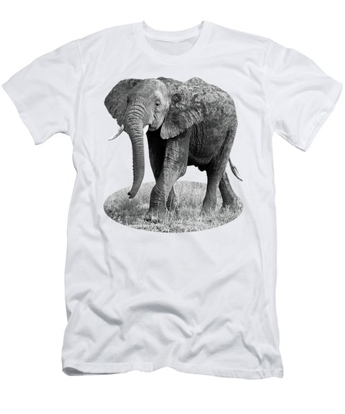 Elephant Happy And Free In Black And White Men's T-Shirt (Slim Fit) by Gill Billington