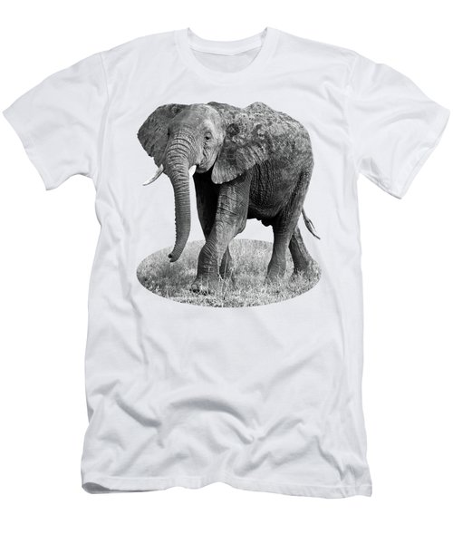 Elephant Happy And Free In Black And White Men's T-Shirt (Athletic Fit)