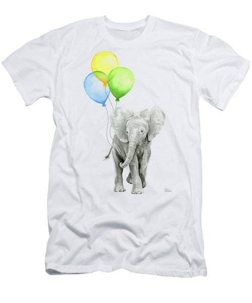 Elephant Watercolor Baby Animal Nursery Art Men's T-Shirt (Athletic Fit)