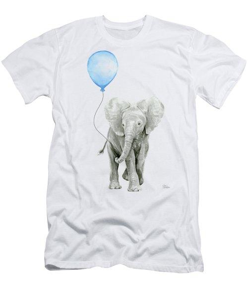 Elephant Watercolor Blue Nursery Art Men's T-Shirt (Athletic Fit)