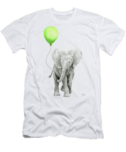 Elephant Watercolor Green Balloon Kids Room Art  Men's T-Shirt (Athletic Fit)