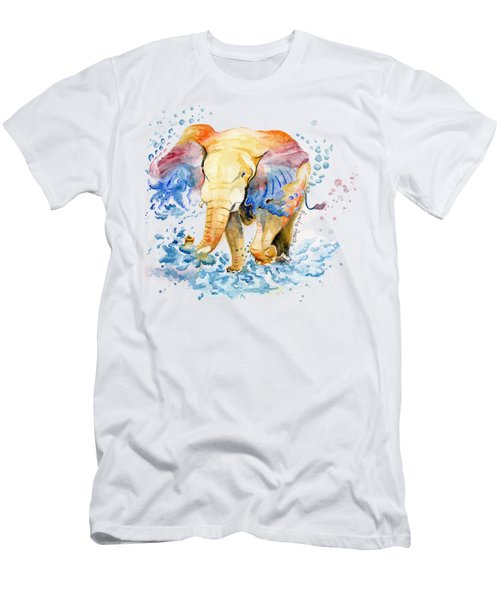 Elephant Watercolor Men's T-Shirt (Athletic Fit)