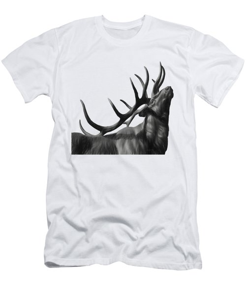 Elk In Black In White  Men's T-Shirt (Athletic Fit)