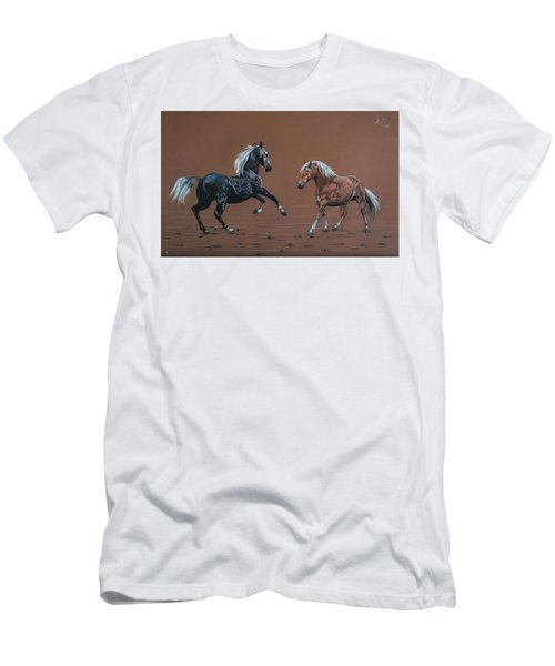 Men's T-Shirt (Slim Fit) featuring the drawing Elza And Biba by Melita Safran