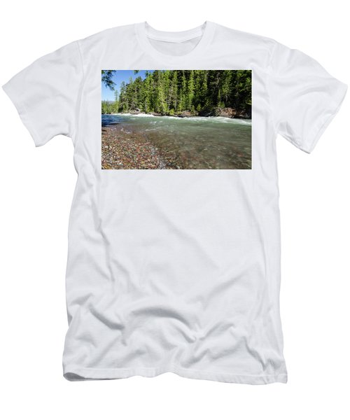Men's T-Shirt (Athletic Fit) featuring the photograph Emerald Waters Flow by Margaret Pitcher
