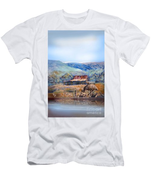 Men's T-Shirt (Athletic Fit) featuring the painting Emu And Chicks, Australian Landscape by Ryn Shell
