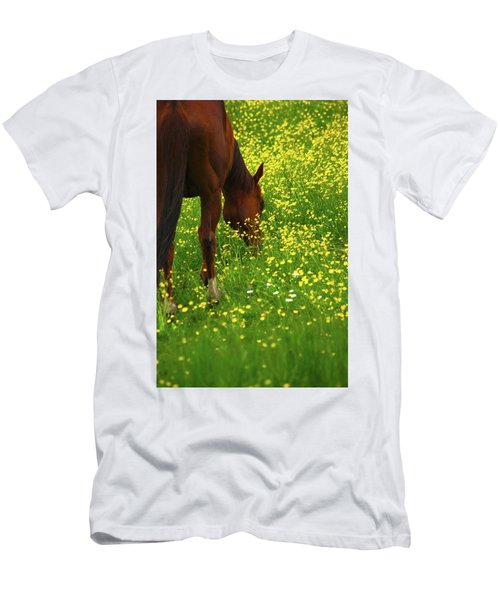 Men's T-Shirt (Slim Fit) featuring the photograph Enjoying The Wildflowers by Karol Livote
