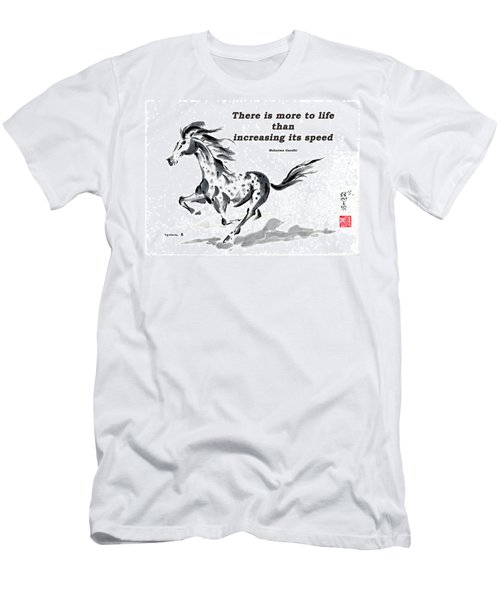Men's T-Shirt (Slim Fit) featuring the painting Escape With Gandhi Quote  by Bill Searle