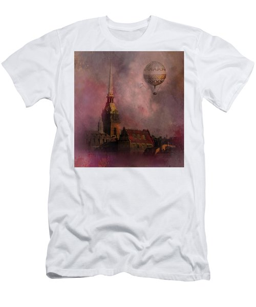 Men's T-Shirt (Slim Fit) featuring the digital art Stockholm Church With Flying Balloon by Jeff Burgess