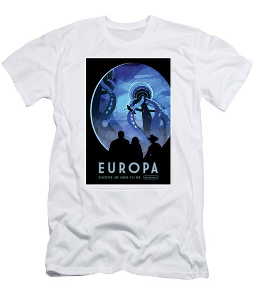 Europa Discover Life Under The Ice - Nasa Vintage Poster Men's T-Shirt (Athletic Fit)