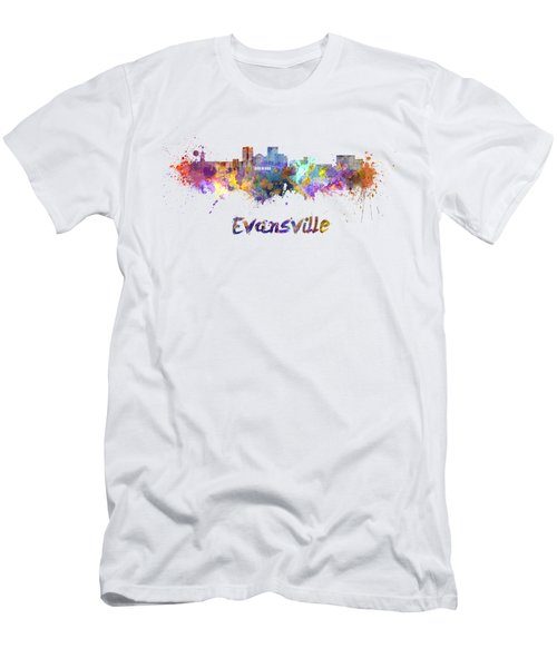 Evansville Skyline In Watercolor  Men's T-Shirt (Athletic Fit)