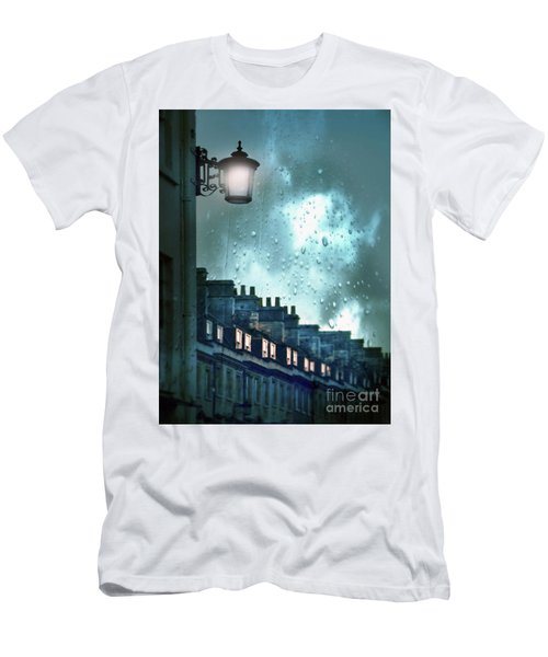 Men's T-Shirt (Slim Fit) featuring the photograph Evening Rainstorm In The City by Jill Battaglia