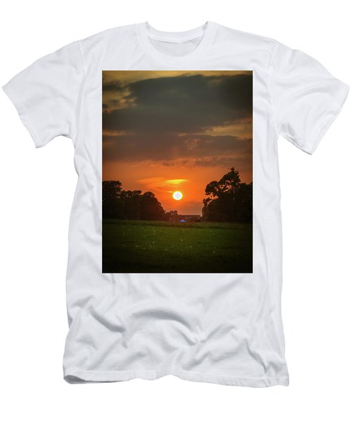 Men's T-Shirt (Slim Fit) featuring the photograph Evening Sun Over Picnic by Lenny Carter