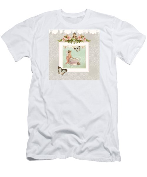 Fairy Teacups - Flutterbye Butterflies And English Rose Damask Men's T-Shirt (Slim Fit) by Audrey Jeanne Roberts