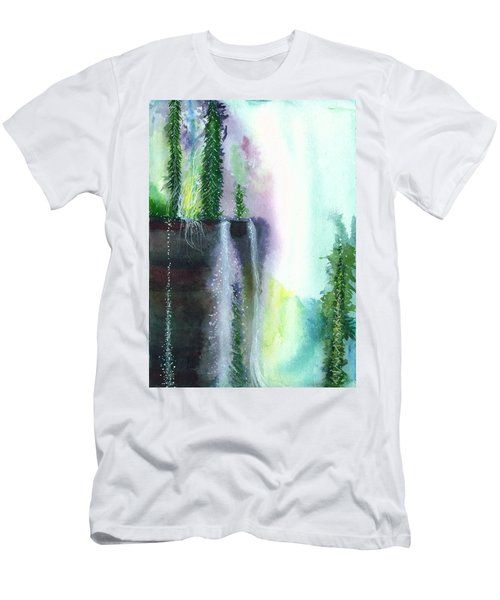Falling Waters 1 Men's T-Shirt (Slim Fit) by Anil Nene