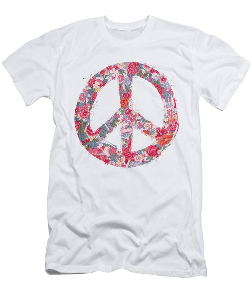 Far Too Pretty Peace Symbol #1 Men's T-Shirt (Slim Fit) by Nola Lee Kelsey