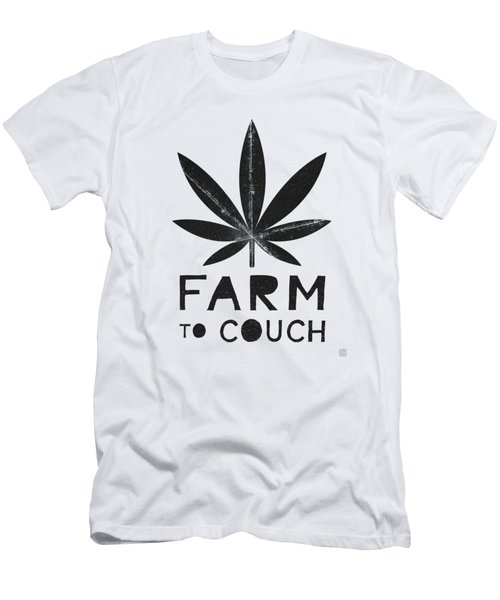 Farm To Couch Black And White- Cannabis Art By Linda Woods Men's T-Shirt (Athletic Fit)