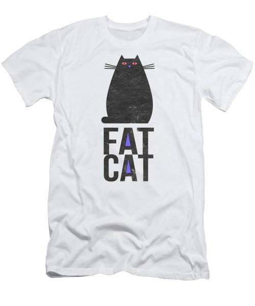 Men's T-Shirt (Slim Fit) featuring the drawing Fat Cat by Edward Fielding
