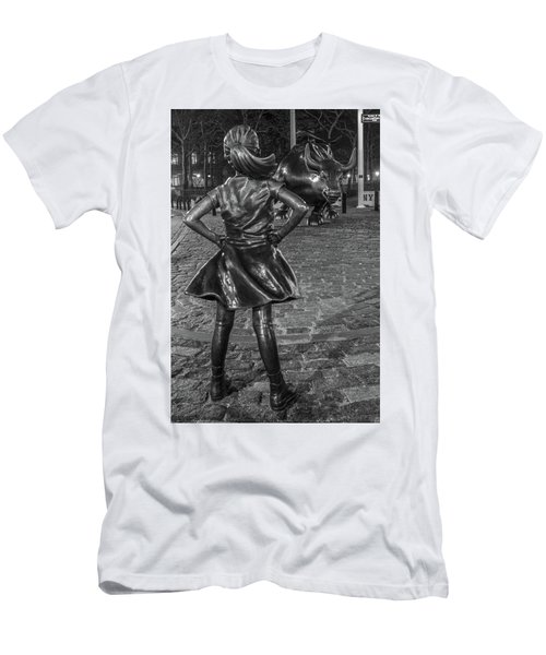 Fearless Girl And Charging Bull Nyc Men's T-Shirt (Athletic Fit)
