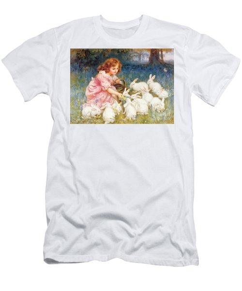 Feeding The Rabbits Men's T-Shirt (Slim Fit) by Frederick Morgan