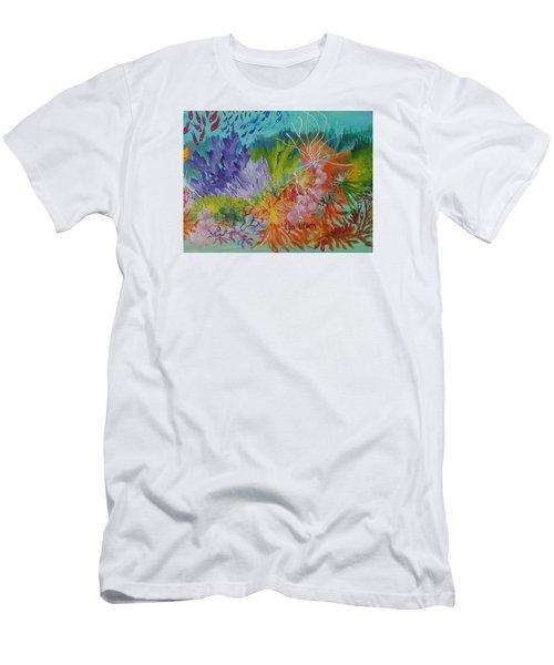 Feeding Time On The Reef #3 Men's T-Shirt (Slim Fit) by Lyn Olsen