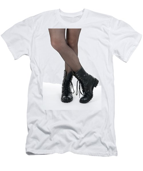 Female Legs In Pantyhose And Black Boots Men's T-Shirt (Athletic Fit)
