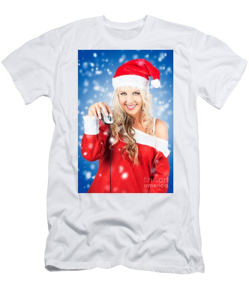 Female Santa Claus Christmas Shopping Online Men's T-Shirt (Athletic Fit)