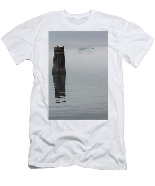 Ferry Hiding In The Fog Men's T-Shirt (Slim Fit) by Tony Locke