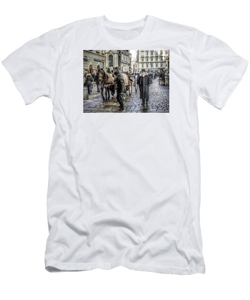 Men's T-Shirt (Slim Fit) featuring the photograph Fiakers At Stephansplatz, Vienna by Brian Tarr