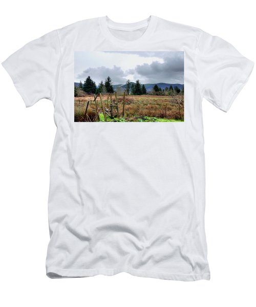 Field, Clouds, Distant Foggy Hills Men's T-Shirt (Athletic Fit)