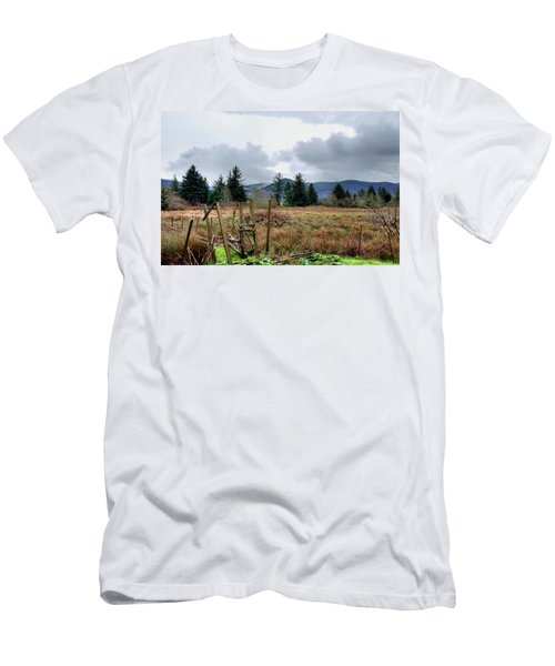 Field, Clouds, Distant Foggy Hills Men's T-Shirt (Athletic Fit)