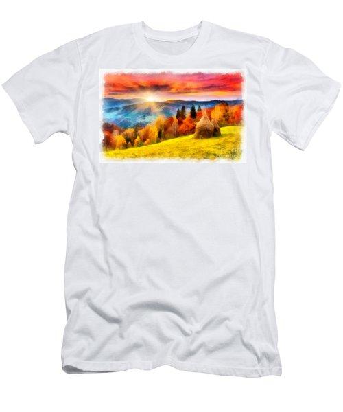 Field Of Autumn Haze Painting Men's T-Shirt (Athletic Fit)