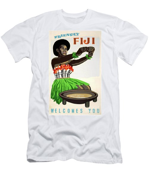 Fiji Restored Vintage Travel Poster Men's T-Shirt (Athletic Fit)