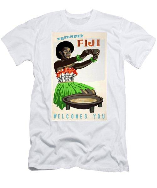 Fiji Restored Vintage Travel Poster Men's T-Shirt (Athletic Fit)