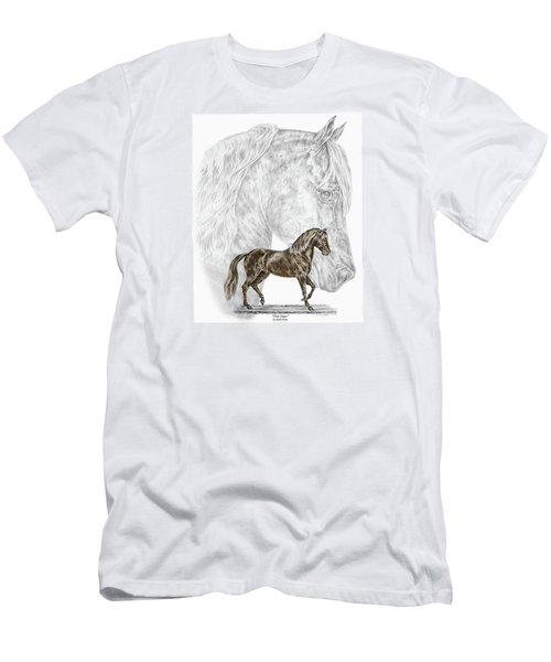 Men's T-Shirt (Slim Fit) featuring the drawing Fine Steps - Paso Fino Horse Print Color Tinted by Kelli Swan