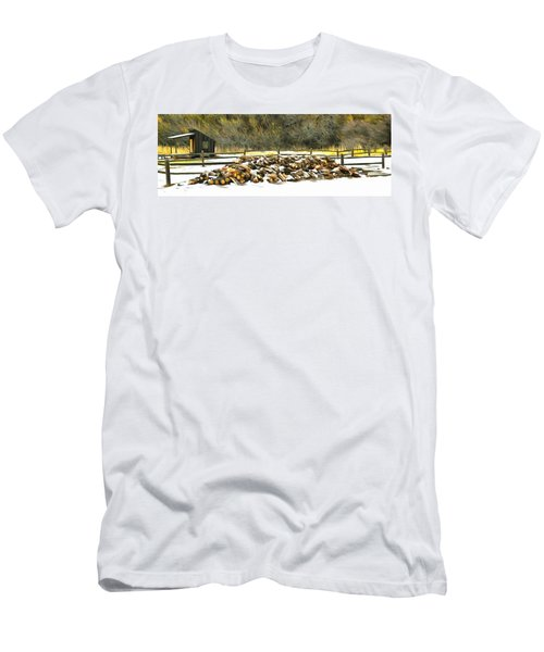 Men's T-Shirt (Slim Fit) featuring the photograph  Floyd Snyder by Firewood in the Snow at Fort Tejon